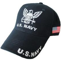 NEW U.S. Navy with U.S. Flag on side Baseball cap hat. Navy Blue.  - $15.99