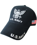 NEW U.S. Navy with U.S. Flag on side Baseball cap hat. Navy Blue.  - $15.99