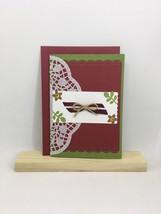 Beautiful carmine red handmade greeting card with Latvian flag ribbon Na... - $7.50