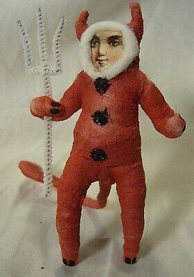 Vintage Inspired Spun Cotton Devil Boy Ornament Halloween!No. 227