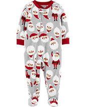 Carter's Boys' One Piece Christmas Fleece Pajamas 3T, Heather/Red Santa image 3