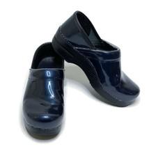 Dansko Size 38 Professional Patent Leather Clogs Navy Blue Slip On Nursing Shoes - $58.31