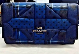 NWT Coach Downtown Blue Printed Patchwork Leather Shoulder Bag Clutch 34... - $195.00