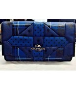 NWT Coach Downtown Blue Printed Patchwork Leather Shoulder Bag Clutch 34525 $350 - $195.00