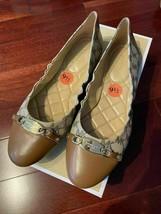 NWB Michael Kors Joyce Ballet MK Heritage Canvas Logo Natural Shoes sz 9.5 - $79.99