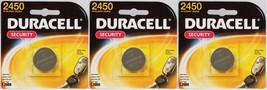 3 DURACELL 2450 Button Coin Battery Lithium 3 volt DL2450 CR2450 Security Med. - $15.97