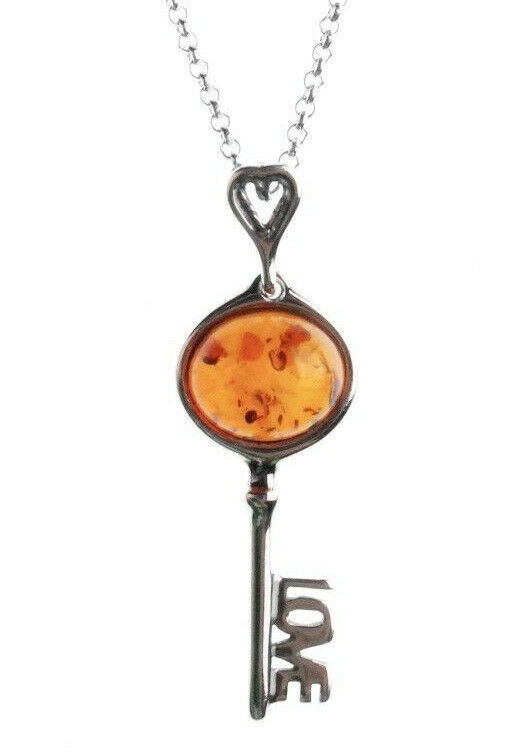 "18"" Sterling Silver 925 Amber Brown Gemstone Love Key Pendant Necklace NWT"