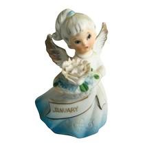 Vintage Lefton January Birthday Month Angel Figurine Girl Ponytail Bisque - $34.61