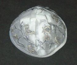 Judaica Kippah White Silver Gold Birds Embroidered Yarmulke Yamaka 22 cm image 2