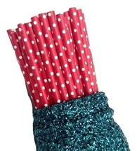 """7.75"""" red polka dot print paper straws / 6-25 pieces / party supplies - $1.37 CAD+"""