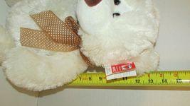 "Ganz Plush large cream stuffed teddy bear brown nose polka dot bow 13-18"" w/ tag image 8"