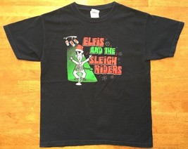 Elfis And The Sleigh Riders Boy's Black Short Sleeve Shirt - Size: Medium - $6.92