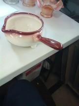 California Brock Pottery Gravy Boat -Cream w Brown Trim - $6.43
