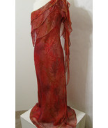 GILAR 100% Silk Red Palm Leaf Hand Sewn Bead Column Gown W/Sash Model Le... - $359.99