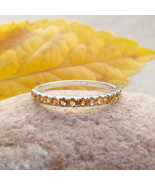Citrine Round Eternity Rings Sterling Silver Citrine Ring Wedding Band N... - $66.85