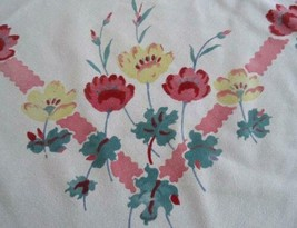 "True Vintage Printed Cotton Tablecloth Pink Yellow Poppies Flowers 47"" - $25.89"