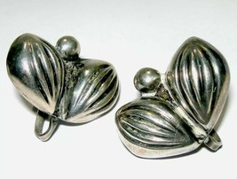 VINTAGE STERLING SILVER EARLY MEXICO  CACTUS LEAF SCREW BACK OLD EARRINGS - $40.00
