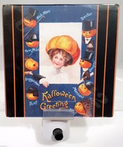 Halloween Vintage Scrap Art Reproduction PUMPKIN BRIDE & GROOMS Night Light - £8.32 GBP