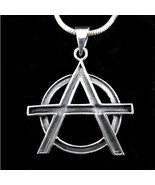 Handcrafted Solid 925 Sterling Silver ANARCHY Symbol Occult Pendant - $24.70