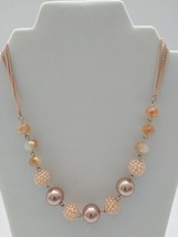 FASHION JEWELRY BEADED NECKLACE WITH FAUX PEARL BALLS - $4.90