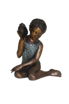 """Girl listening to a Shell fountain-Bronze Statue -  Size: 17""""L x 10""""W x ... - $890.00"""