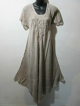 Dress  Fits 1X 2X 3X Plus Tunic Sage-Grey Lace Sleeves Ties at Neck NWT ... - $24.74