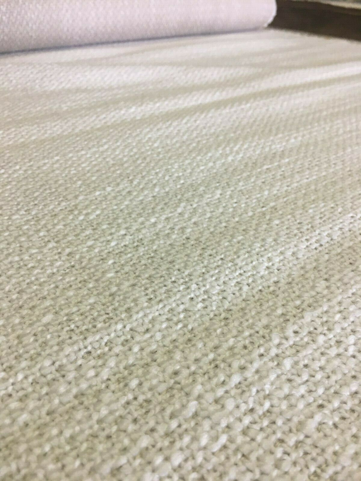 Mid Century Nubby Texture Upholstery Fabric White 2.5 yards TQ