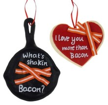 Kurt Adler Ornament Set Frying Pan What's Shakin Bacon & Heart I Love You More - $9.99