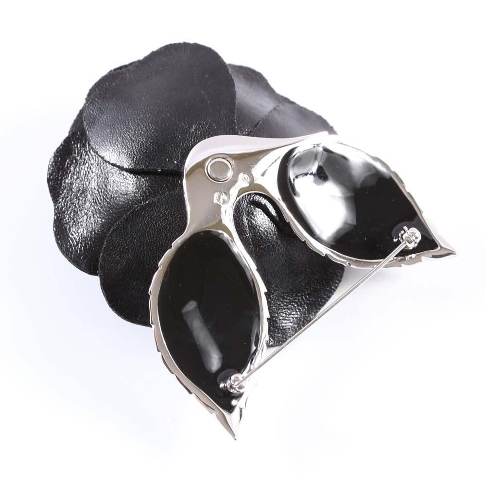 Swarovski Crystal and  Black Leather Rose Mourning Brooch