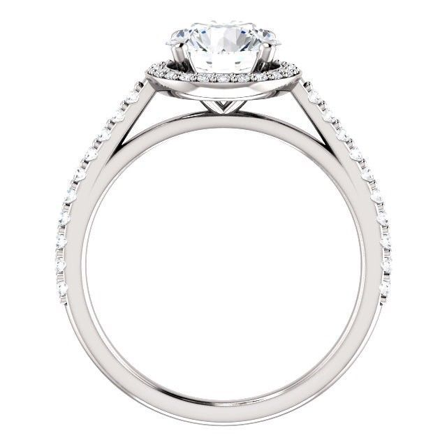 PLATINUM 2.00 Carat Ideal Cut Genuine Diamond Solitaire Halo Ring