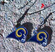 Los Angeles Rams Dangle Earrings, Sports Earrings, Football Fan Earrings_02 - $3.95