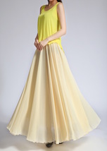 YELLOW High Waist Chiffon Maxi Skirt Women Flowing Long Wedding Bridesmaid Skirt image 4
