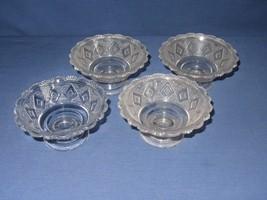 4 Grand Diamond Medallion Scalloped Dessert Sherbet Bowl  Vtg Clear Glass - $19.79