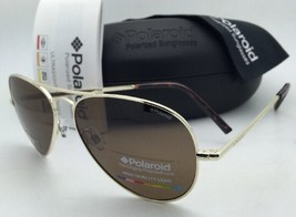 New POLAROID Sunglasses 1006/S 3YGIG 58-14 Gold Aviators Brown POLARIZED... - $119.98