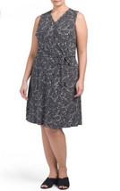Women Plus Vince Camuto Black White Dress Spring Belted Wrap Mosaic Prin... - $61.37