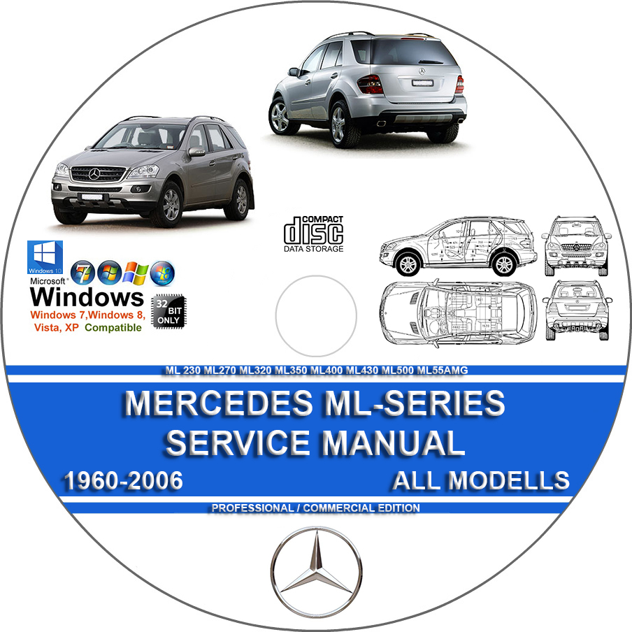 MERCEDES ML230 ML320 ML350 ML400 ML430 ML500 ML27cdi SERVICE REPAIR MANUAL  DVD