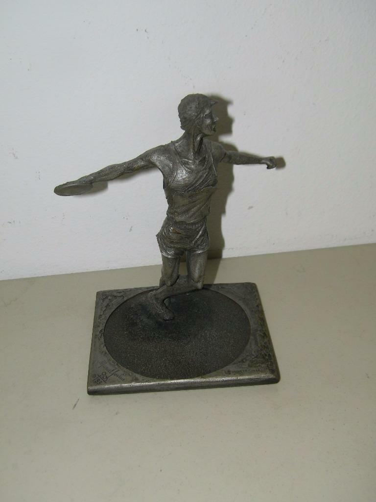 Vintage 1984 Discus Sculpture for Telephone AT & T Pewter Tone 14437 image 2