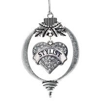 Inspired Silver Stylist Pave Heart Holiday Christmas Tree Ornament With Crystal  - $14.69