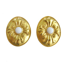 Karl Lagerfeld Large Oval Gold & Milk Glass Earring Clips - $145.00