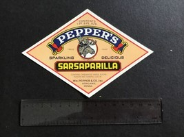 Pepper's  Sarsaparilla Ashland Penna vintage label R33886 - $8.11