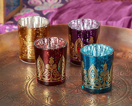 96 Boho Moroccan Indian Henna Glass Candle Holder Votive Bridal Wedding ... - $182.50