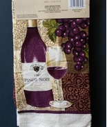 WINE DESIGN KITCHEN TOWEL French Vineyard Pinot Noir purple velour plush... - $3.99