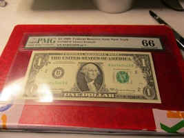 1969 Federal Reserve Note New York  PMG 66 Gem Uncirculated - $29.69