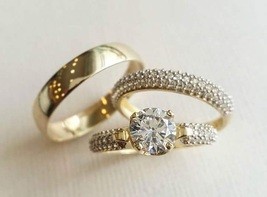 Men's & Women's Trio Engagement Ring Set 14k Gold Plated 925 Silver Round Cut CZ - $160.88