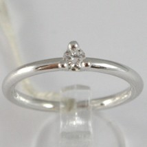 BAGUE EN OR BLANC 750 18K, SOLITAIRE, TIGE ROND, DIAMANT CT 0.12 image 1