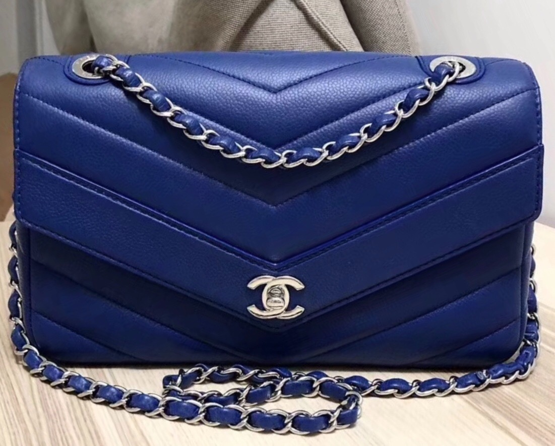AUTHENTIC Chanel Blue Chevron Quilted Caviar Leather Medium Flap Bag SHW