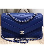 AUTHENTIC Chanel Blue Chevron Quilted Caviar Leather Medium Flap Bag SHW - $3,399.99