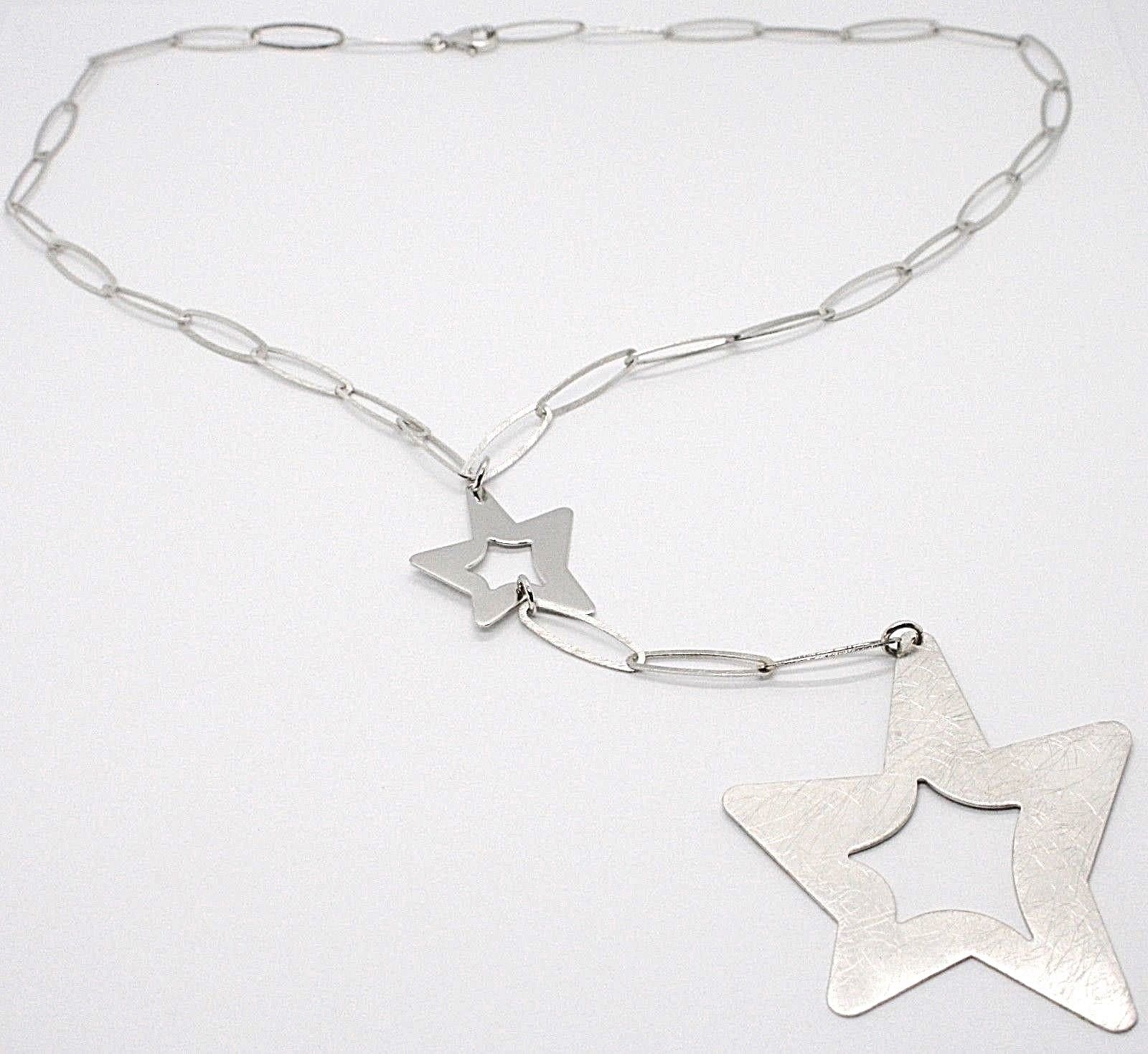 SILVER 925 NECKLACE, CHAIN OVAL, DOUBLE STAR PENDANT WORKED, SATIN