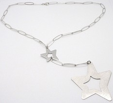 SILVER 925 NECKLACE, CHAIN OVAL, DOUBLE STAR PENDANT WORKED, SATIN image 1