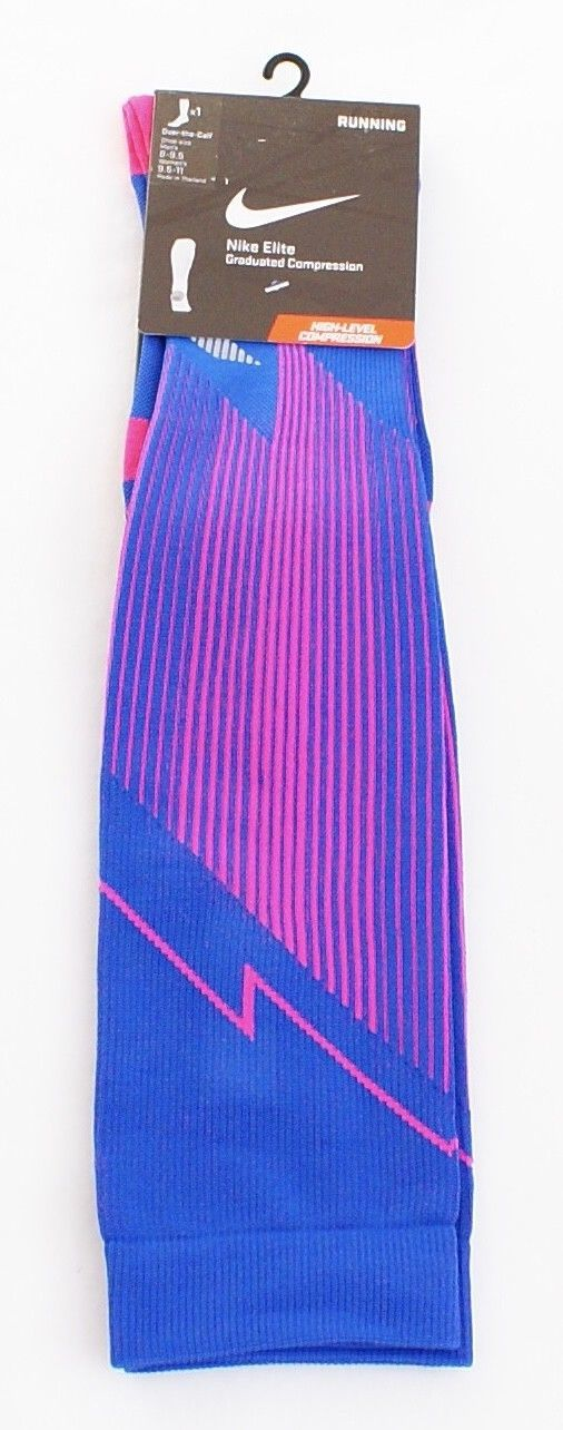 Nike Elite Blue & Pink Graduated Compression Running Socks Men's 8-9.5 NWT